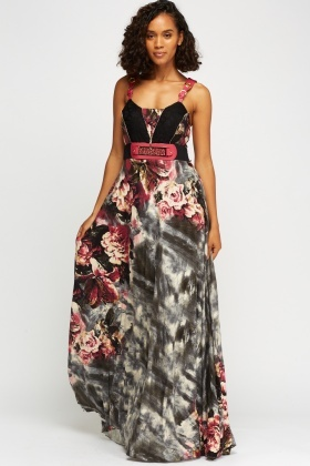 Contrast Detailed Maxi Dress