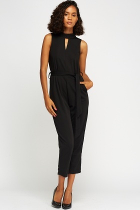 Cut Out Neck Black Jumpsuit