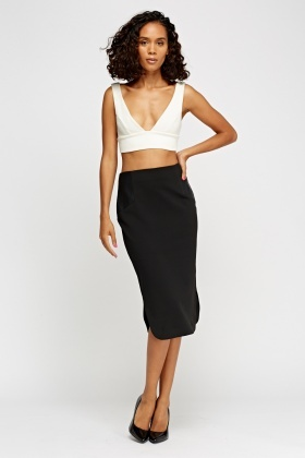 Faux Leather Insert Pencil Skirt