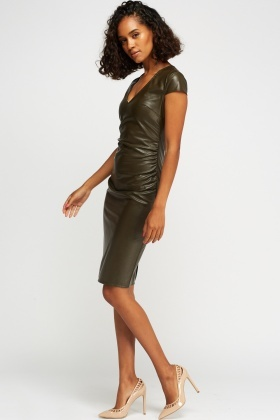 Faux Leather Ruched Midi Dress