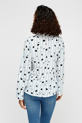 Heart Mixed Print Casual Blouse