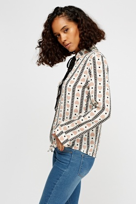 Heart Printed Tie Up Blouse