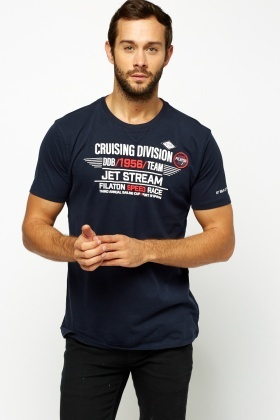 Navy Printed T-shirt