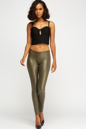 Olive PU Leggings