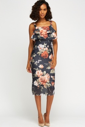 Overlay Flare Printed Dress