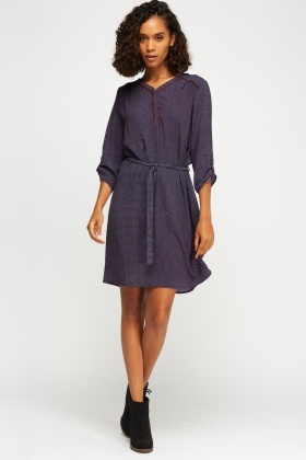 Printed Button Up Tunic Dress