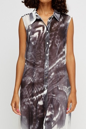 Printed Slit Side Long Line Top