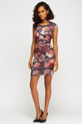 Rose Printed Cap Sleeve Dress