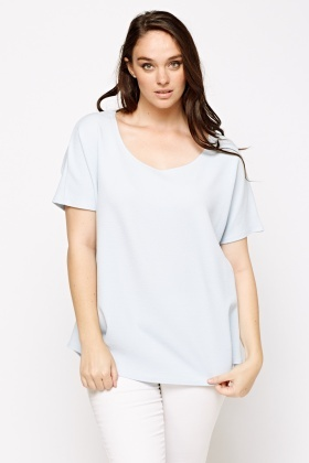 Round Neck Textured Top