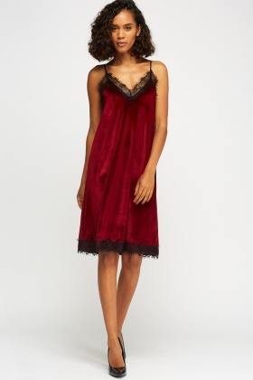 Velveteen Lace Trim Slip On Dress