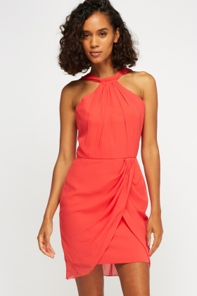 Watermelon Ruched Wrap Hem Dress