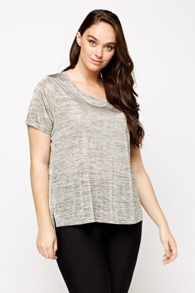 Dip Hem Speckle Grey Top