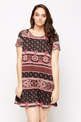 Ethnic Print Slip On Dress