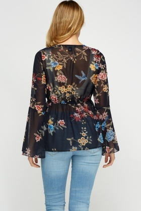 Floral Printed Flare Cover Up Top