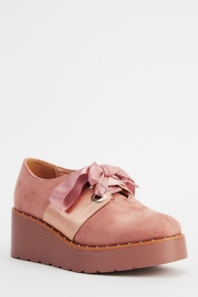 Ideal Ribbon Lace Up Platformed Shoes