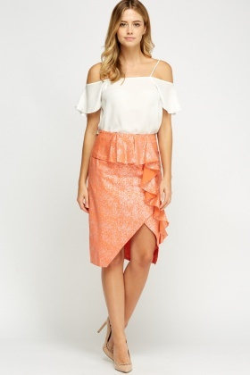 Metallic Frilled Coral Midi Skirt
