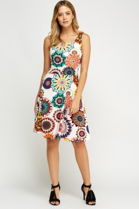 Mix Print Swing Dress