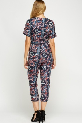 Multi Printed Cropped Jumpsuit