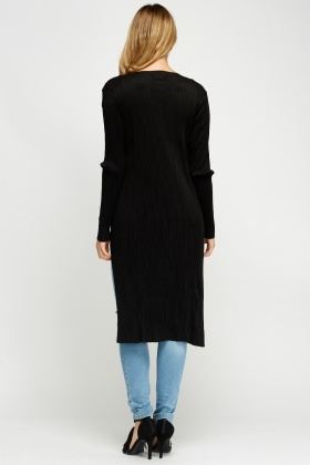 Pleated Suedette Cardigan