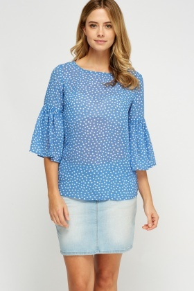 Polka Dot Flare Sleeve Blouse