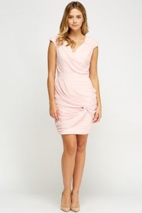 Ruched Light Pink Dress