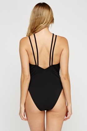 Black Strappy Plunge Bodysuit