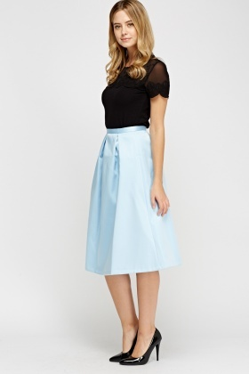 Box Pleat Sky Blue Skater Skirt