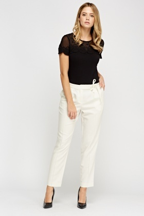 Ivory Tie Waist Trousers
