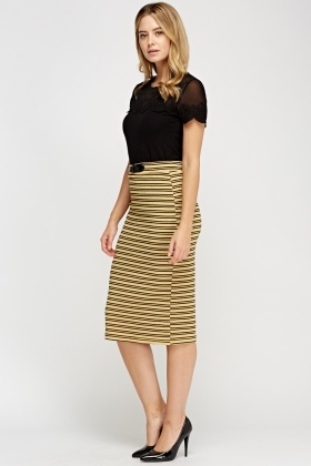 Mustard Ribbed Detailed Waist Skirt