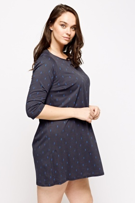 Navy Printed Slip On Dress
