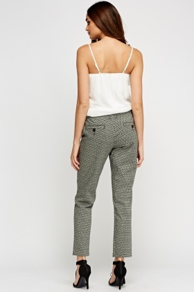 Printed Straight Cigarette Trousers