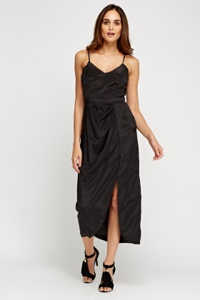 Sateen Ruched Black Maxi Dress