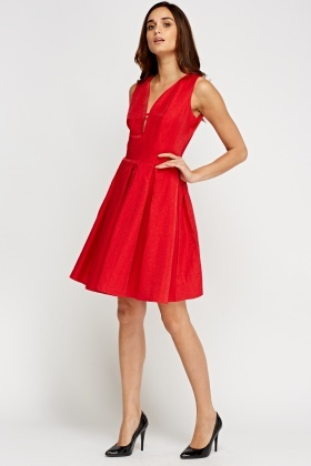 Sweetheart Metallic Insert Pleated Skater Dress