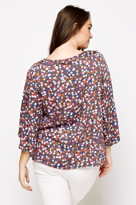 Wrapped Sleeve Printed Top