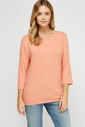Zip Back Casual Knit Top