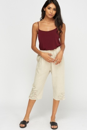 Cropped Stitched Hem Trousers