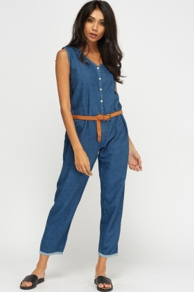 Denim Button Up Jumpsuit