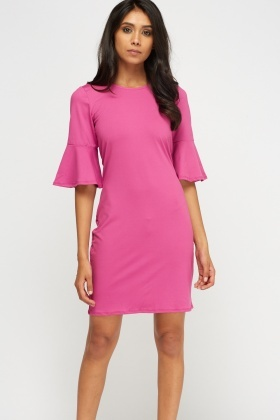 Flare Sleeve Basic Dress