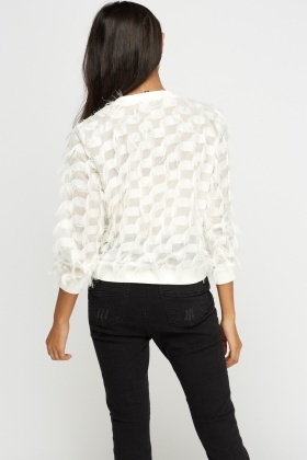 Frayed Mesh White Top