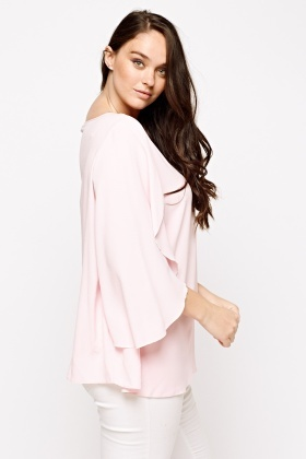 Wrapped Sleeve Light Pink Top