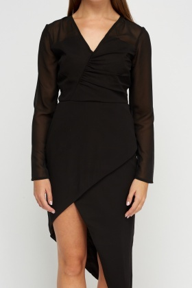 Asymmetric Wrapped Black Dress