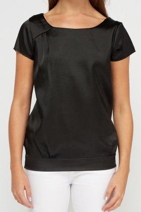 Black Sateen Box Top