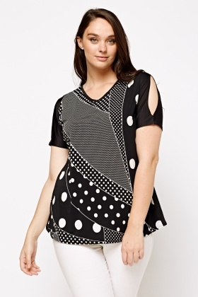 Dot Printed V-Neck T-Shirt