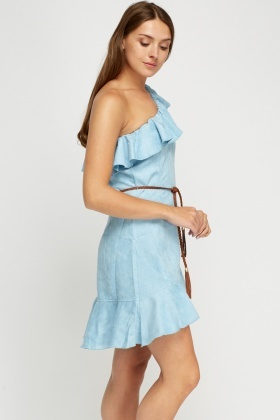 Flared One Shoulder Suedette Dress