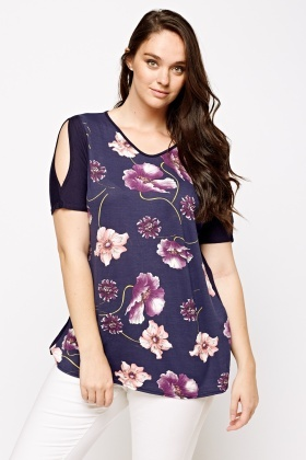 Floral Print Cut Out Shoulder Top
