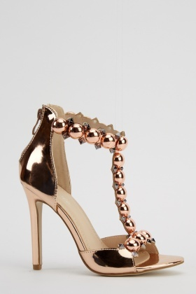 Lavie Embellished T-Bar PVC Heels