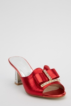 Encrusted Heeled Slip On Shoes