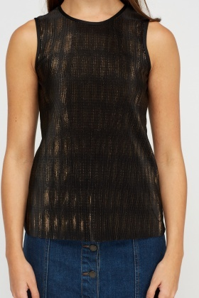 Pleated Metallic Vest Top