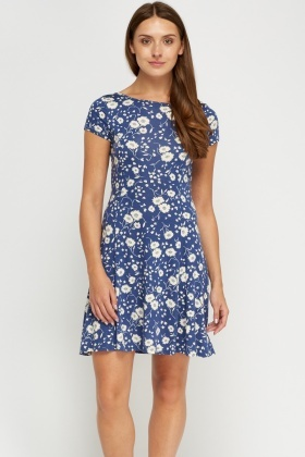 Printed Blue Mini Dress