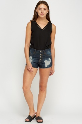 Ripped Navy Denim Shorts